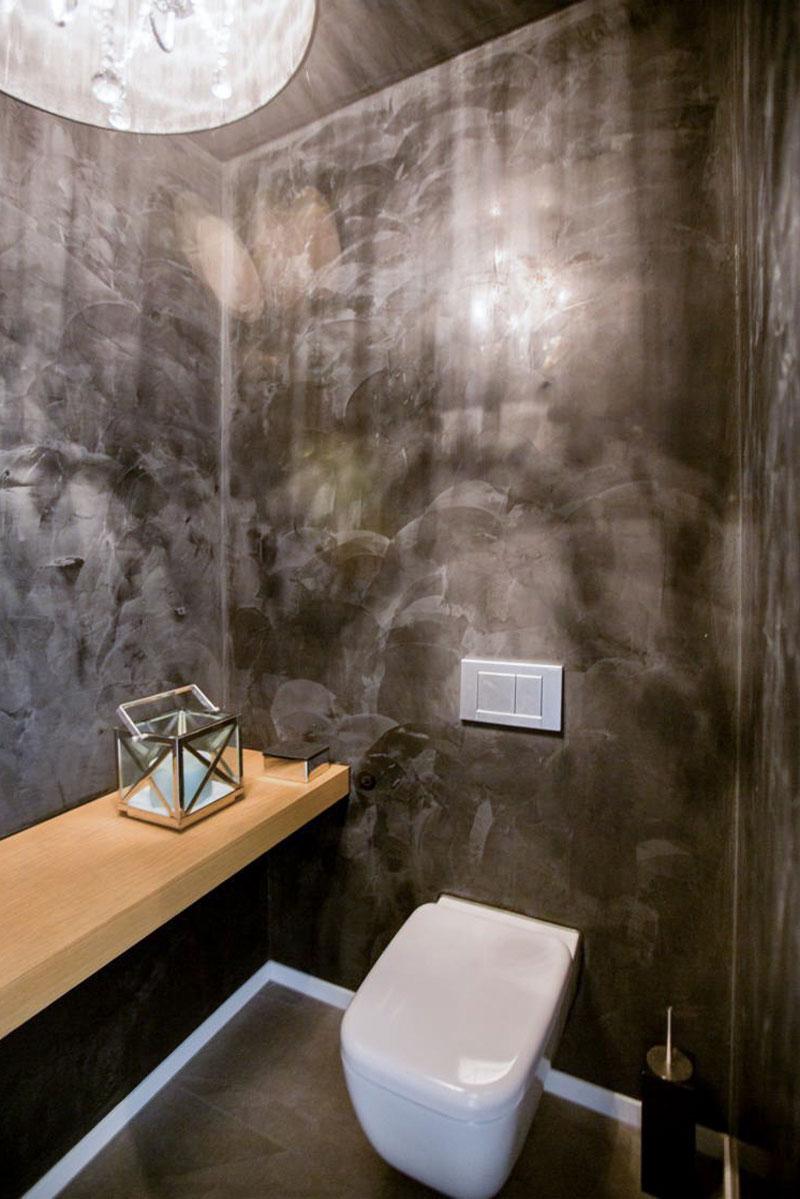 Spektakuläre Spachtel-Optik im Gäste-WC