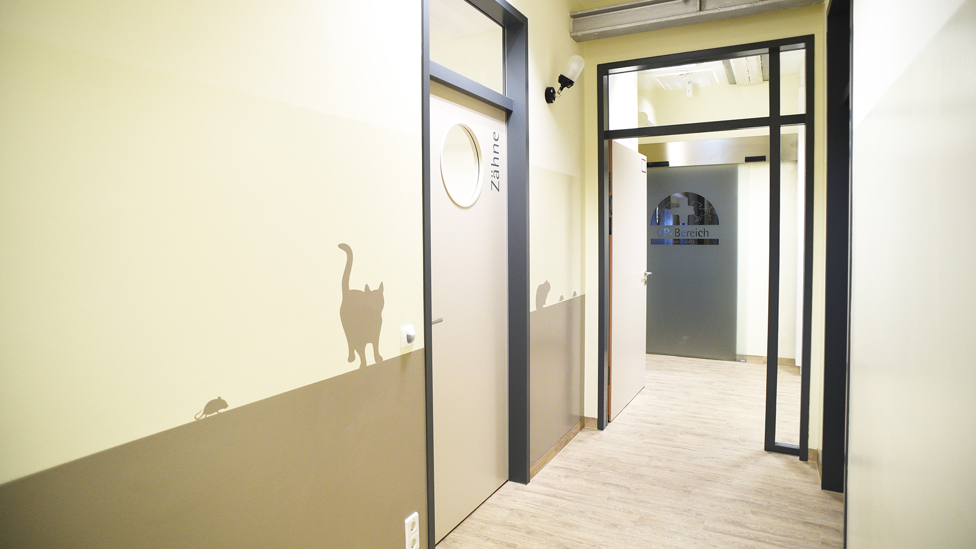 Innentüren für Sprechzimmer, motorisierte OP-Tür und Wanddekor aus einer Hand