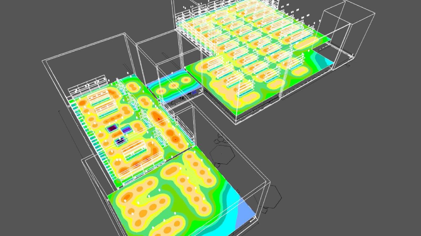 Aus dem Lichtplan wird ein dreidimensionales Modell generiert, auf dem sich die Beleuchtungsintensität einfach ablesen lässt.