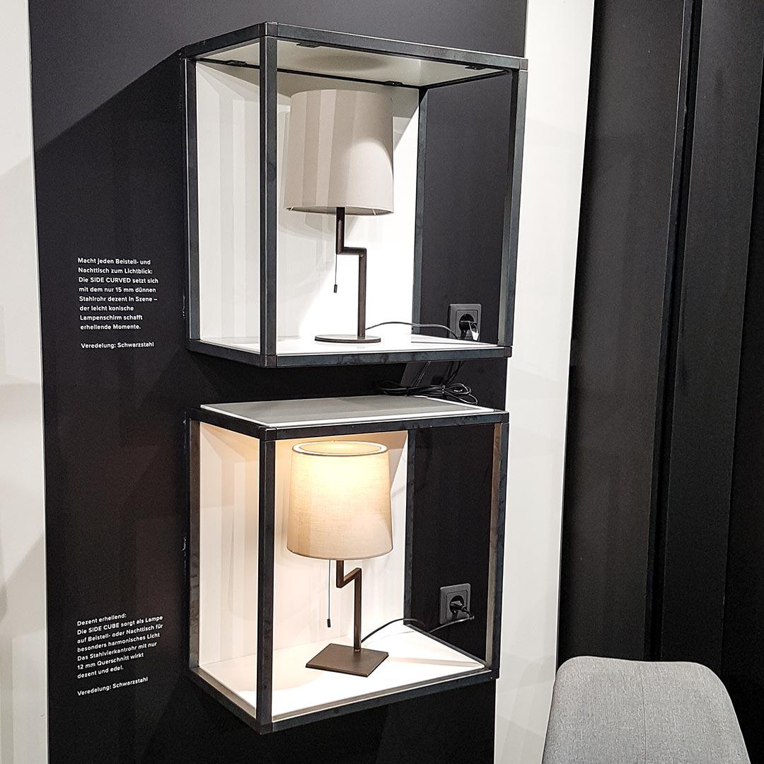 Regalsysteme, Lampen, Handtuchhalter und Türdrücker: Schwarzstahl ist das Material der Stunde.