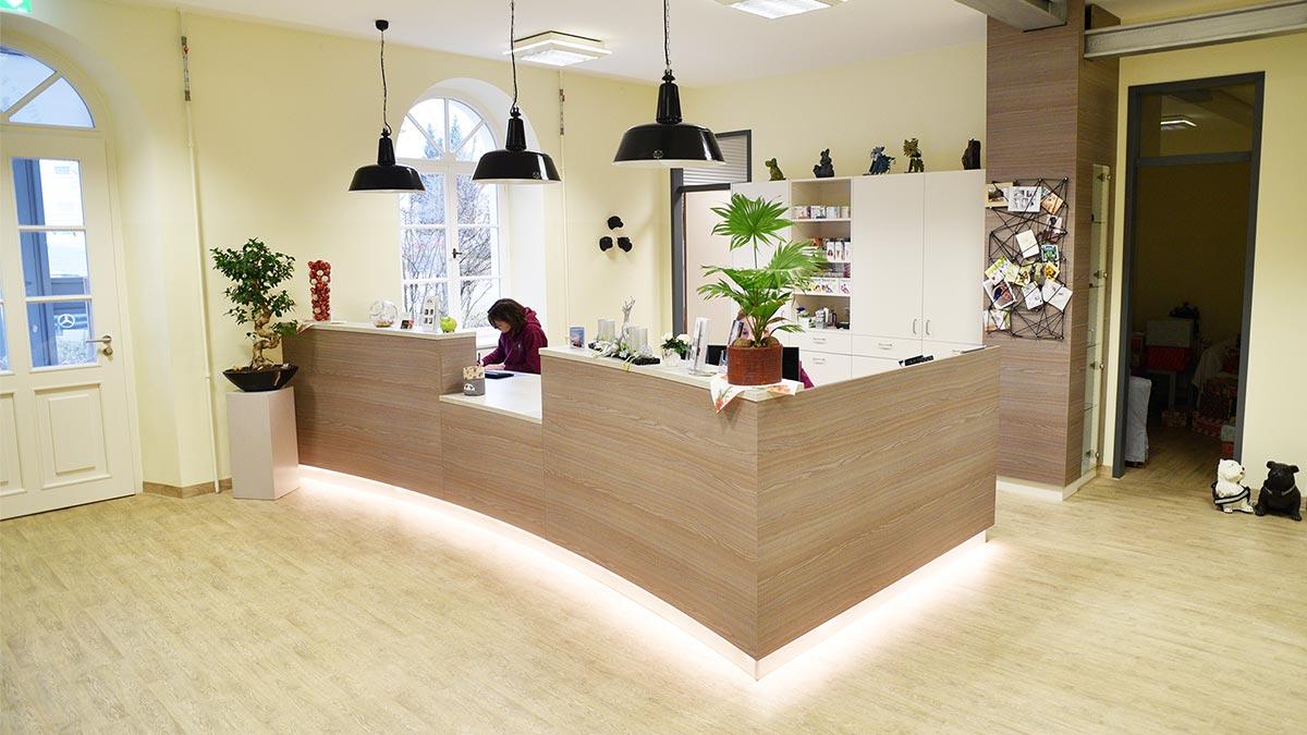Die Empfangstheke der Tierarztpraxis an der alten Spinnerei in Ettlingen besticht durch organische Oberfläche und LED-Sockelbeleuchtung
