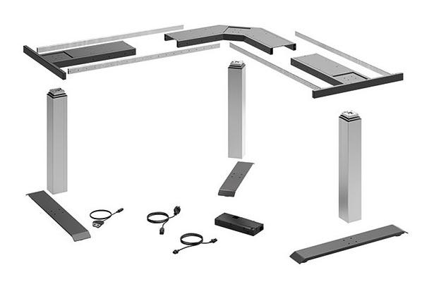 Elektronisch höhenverstellbares Tischgestell gegliedert in Einzelkomponenten