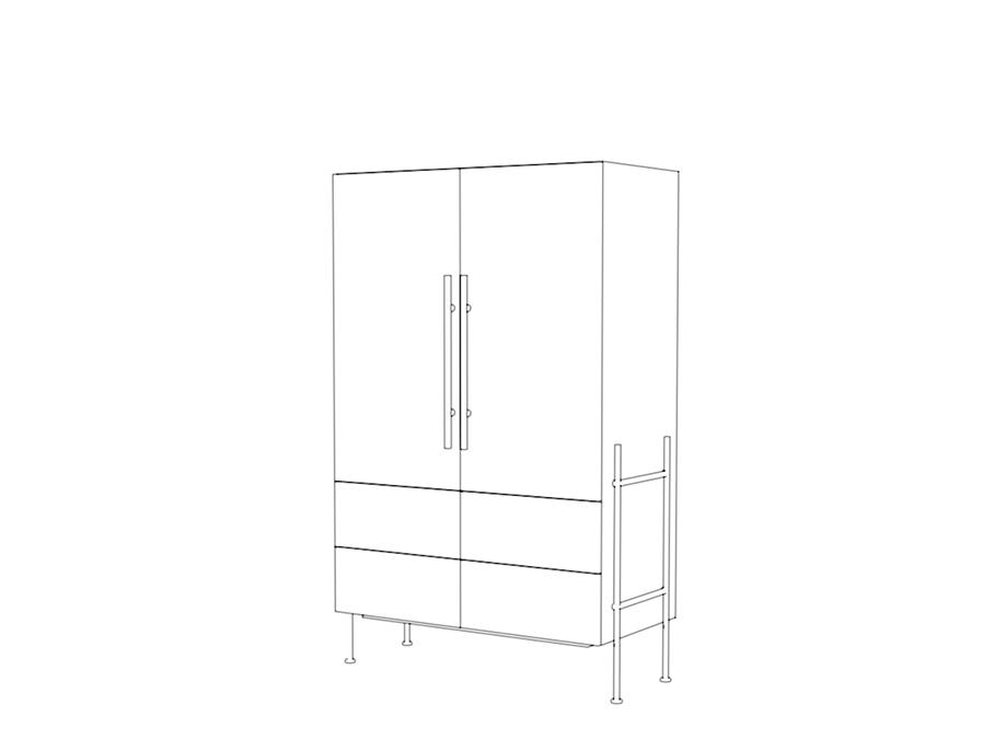 Das highRACK bietet zusätzlichen Stauraum und Platz für einen Einbau-Kühlschrank