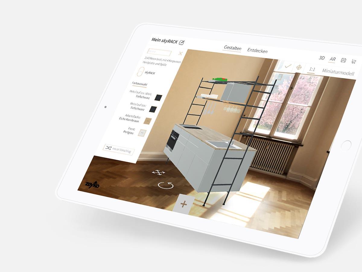 Mittels AR erlaubt die Konfigurator-App die virtuelle Positionierung ihres Küchenblocks im Raum