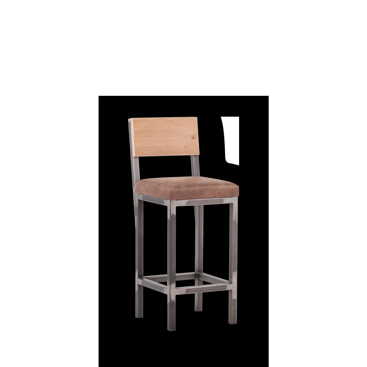 Barhocker im Industrial Design mit Stahlrahmen, Sitzpolster mit Lederbezug und Rückenlehne in Eiche Natur
