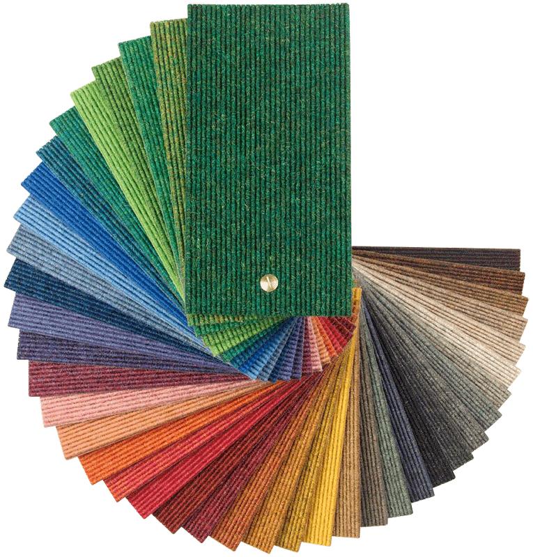 Alle Tretford Teppiche sind in diesen 40 Farben erhältlich.