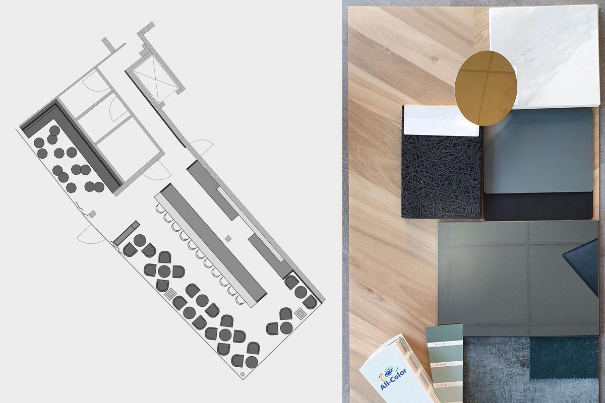 Entwurf und Materialcollage wurden über mehrere Beratungstermine entwickelt