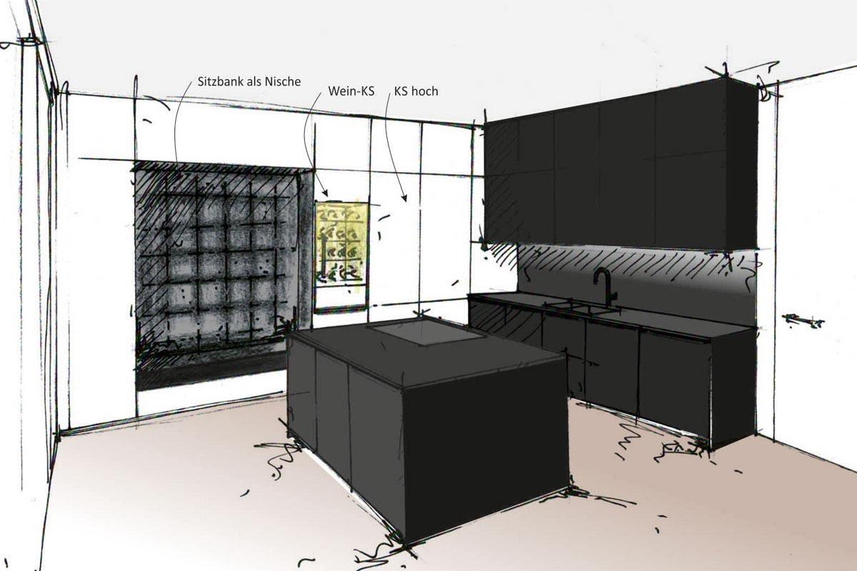 Küchen-Innenarchitektur Handskizze