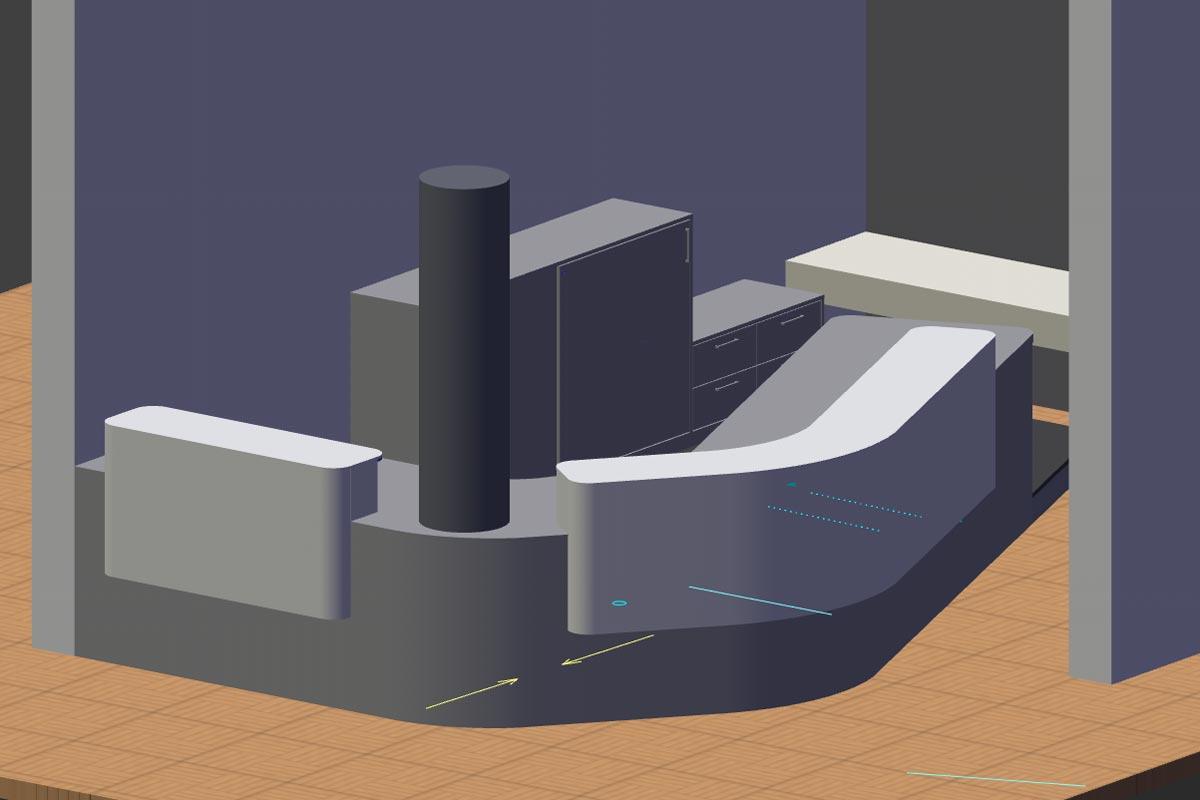 3D-Visualisierung der Empfangstheke für Visteon in Karlsruhe Durlach