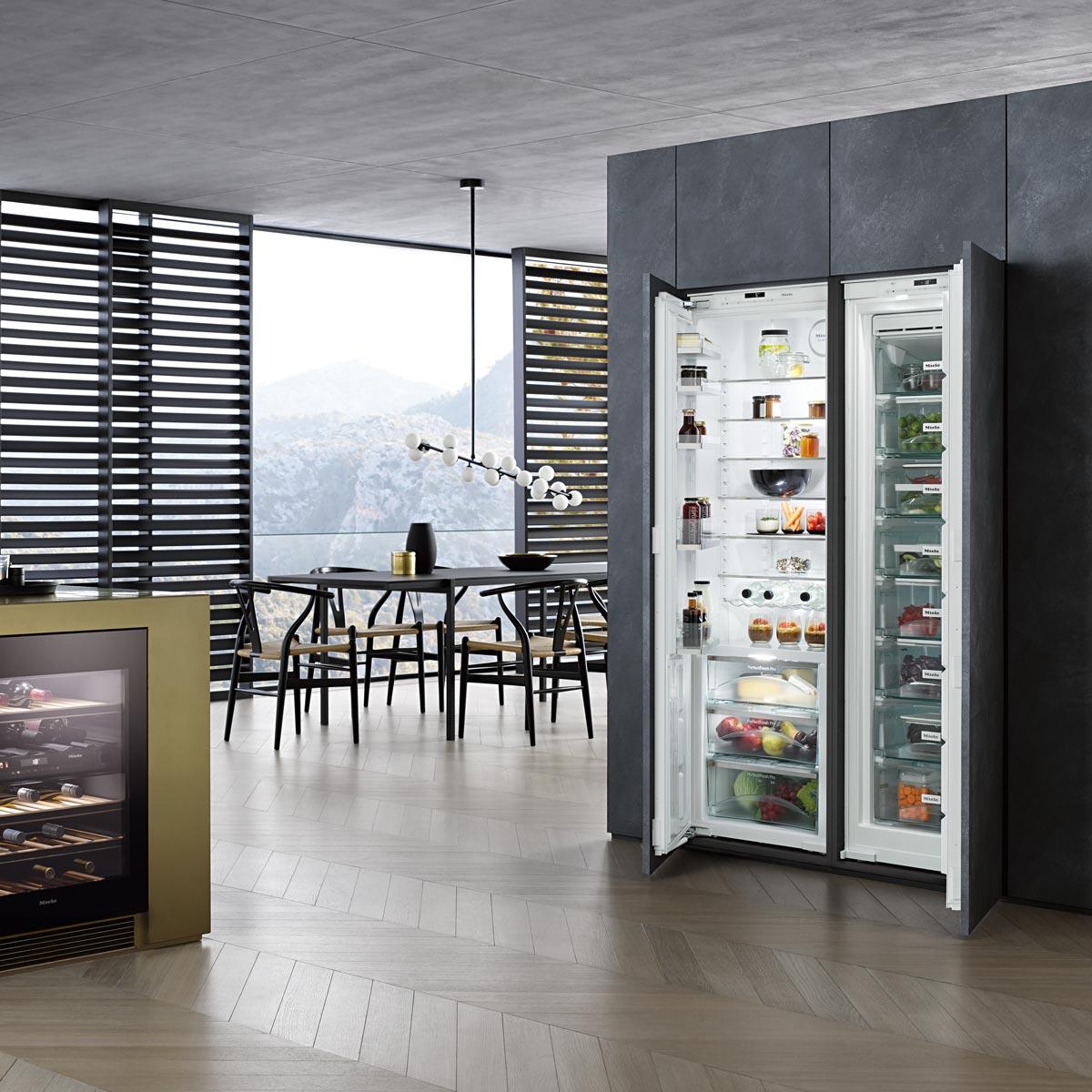 Unterbau-Weinklimaschrank und Flügeltüren-Einbaukühlschrank