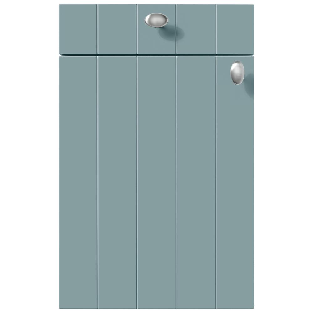 Front im Landhausstil pastellblau mit Edelstahlknäufen