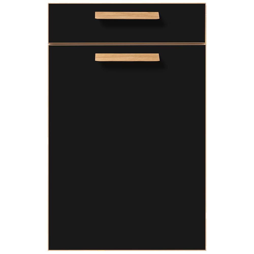 Front modern schwarz mit Griffen und Kanten in Eiche