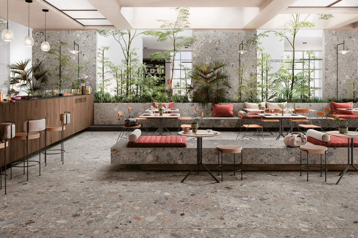 Sitzgelegenheiten und Boden aus Mirage Fliesen